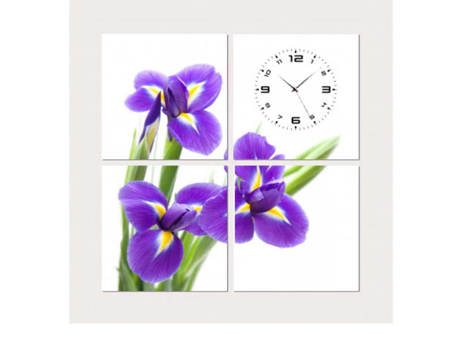 Tranh đồng hồ hoa tím 2 (25x25x4)
