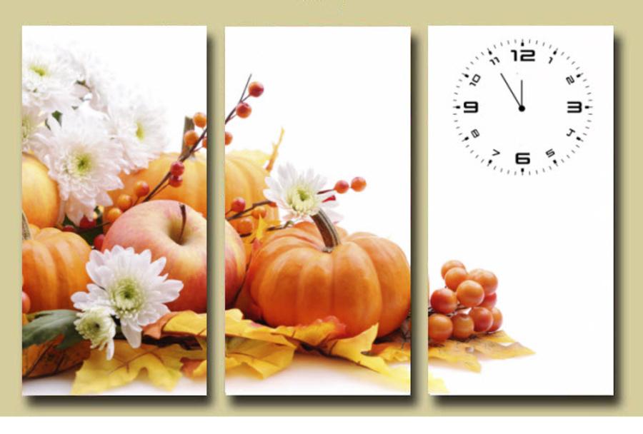 Tranh đồng hồ trái cây 2 3 tấm 40x25x3