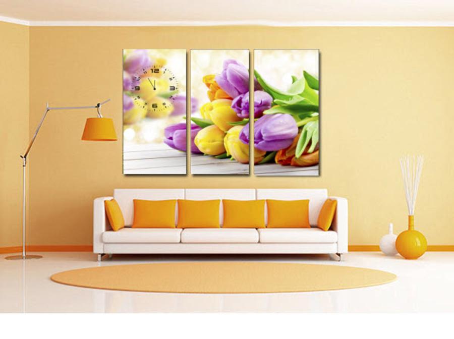 Tranh đồng hồ hoa tulip 3 3 tấm 40x25x3