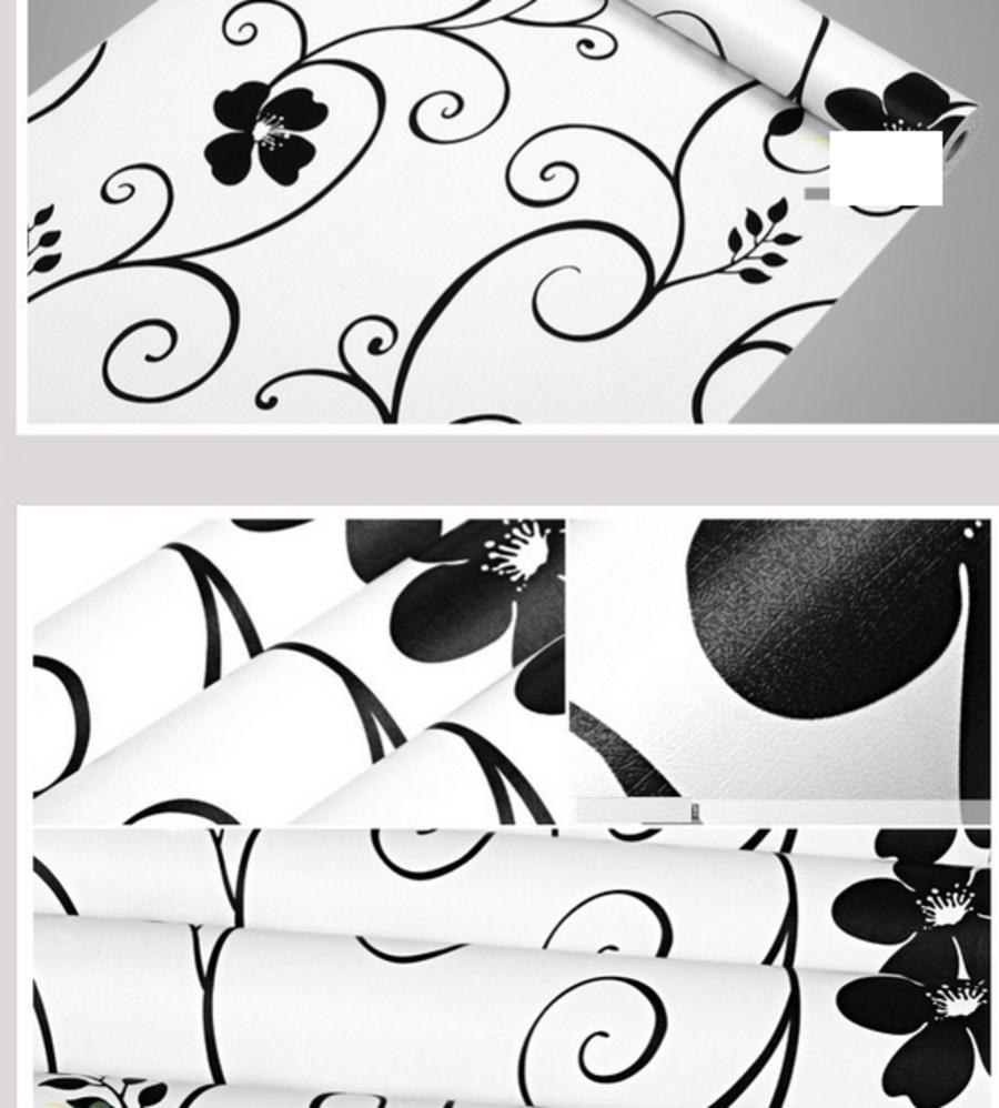Giấy Decal cuộn họa tiết trắng đen 1