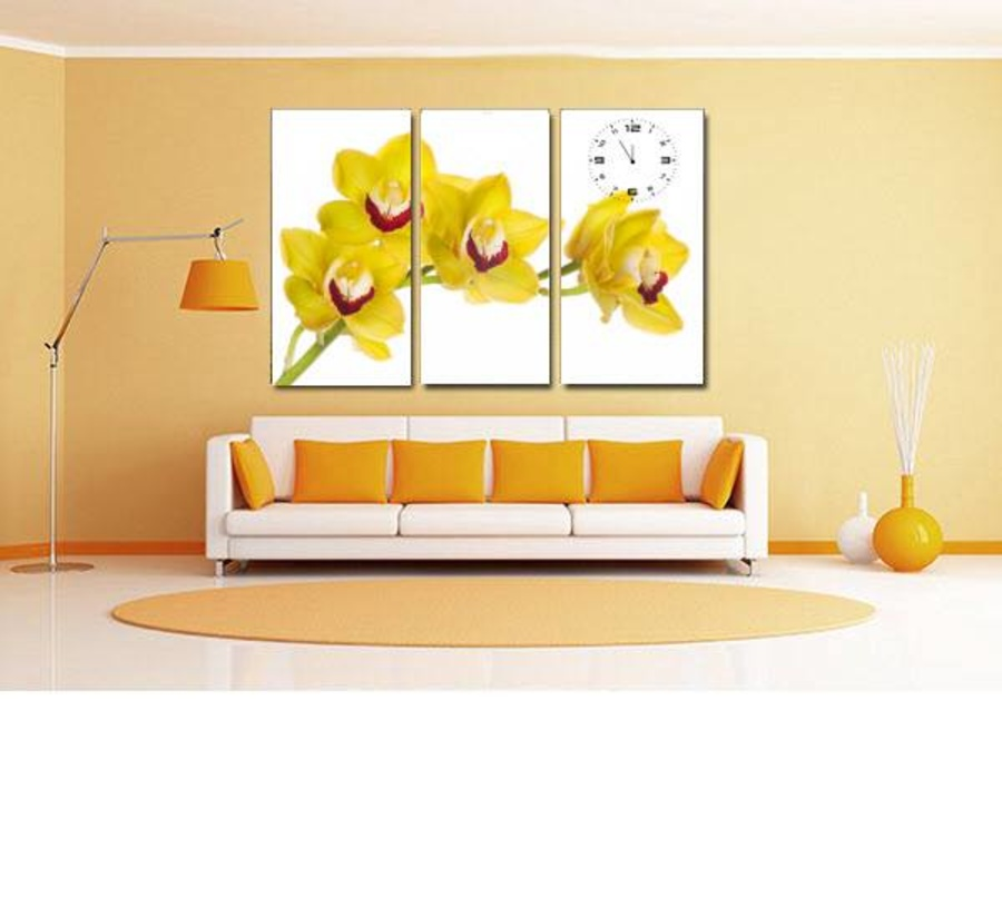 Tranh đồng hồ hoa lan vàng 3 tấm 40x25x3