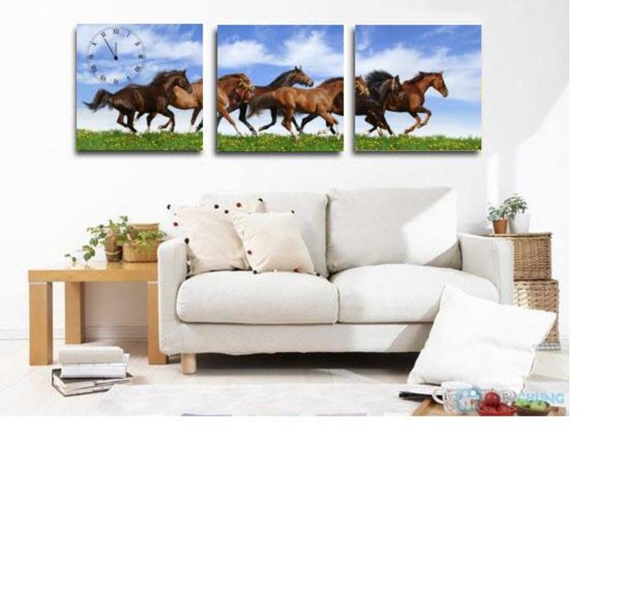 Tranh đồng hồ treo tường đàn ngựa 5