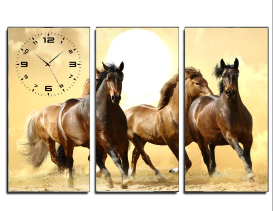 Tranh đồng hồ đàn ngựa 3 3 tấm 40x25x3