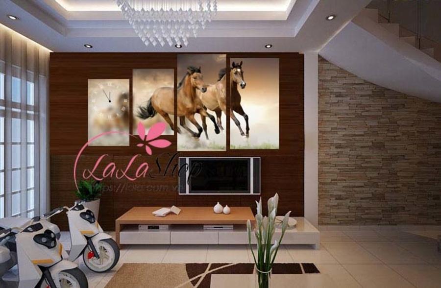 Tranh đồng hồ đàn ngựa cách điệu