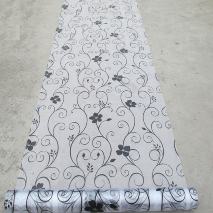 Decal cuộn kính mờ hoa trắng đen Octki (058)
