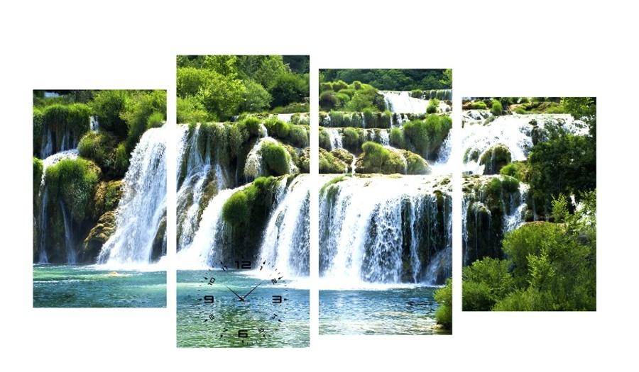 Tranh đồng hồ thác nước cách điệu size lớn