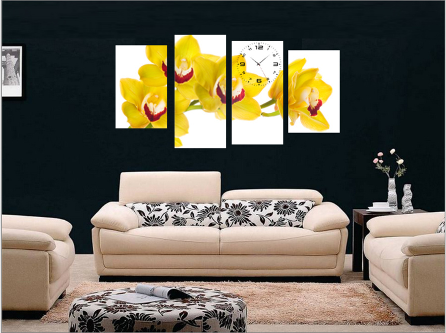 Tranh đồng hồ hoa lan vàng cách điệu size lớn
