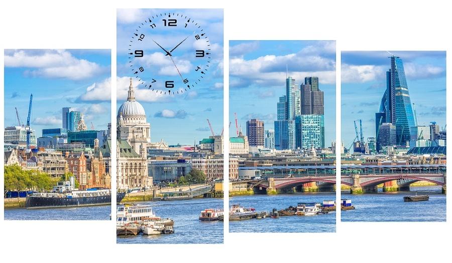Tranh đồng hồ thành phố 1 cách điệu size lớn