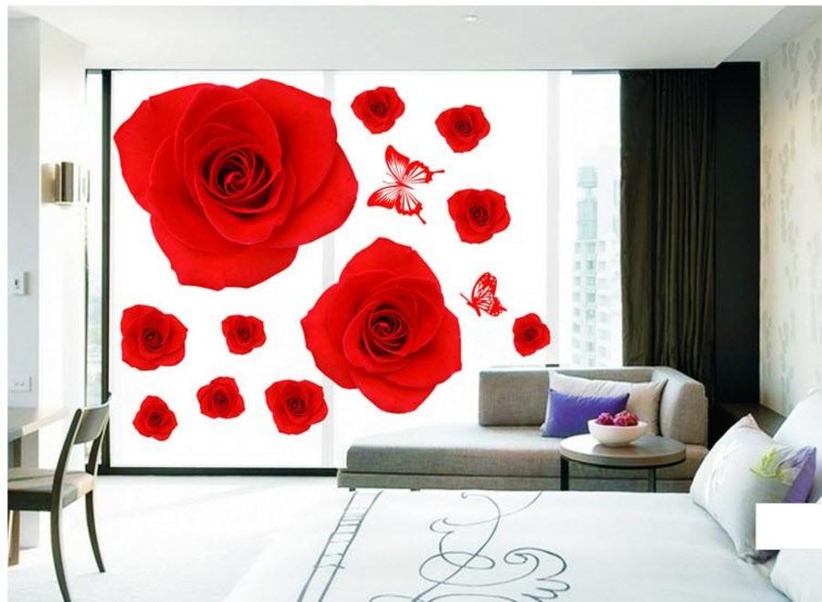 Decal dán tường Hoa hồng nhung đỏ 3D