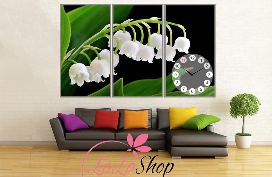 Tranh đồng hồ hoa trắng
