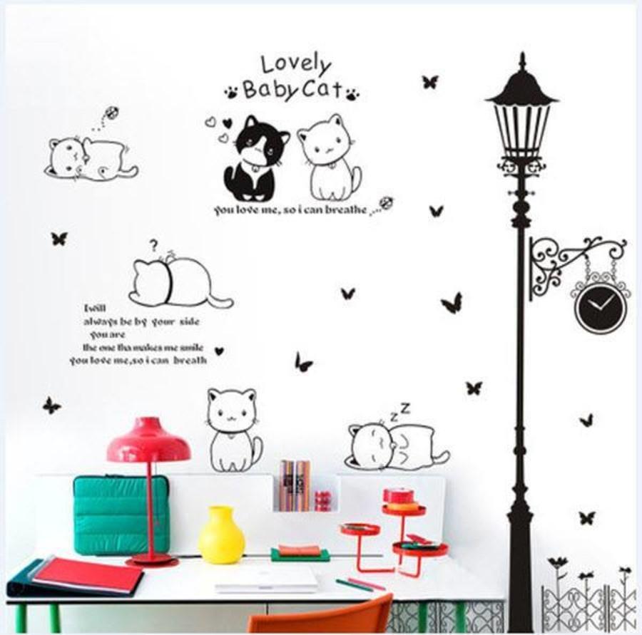Decal dán tường Combo Đàn mèo tinh nghịch   Cây đèn 2