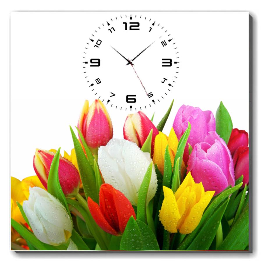 Tranh đồng hồ Tulip đủ màu khổ 40x40cm