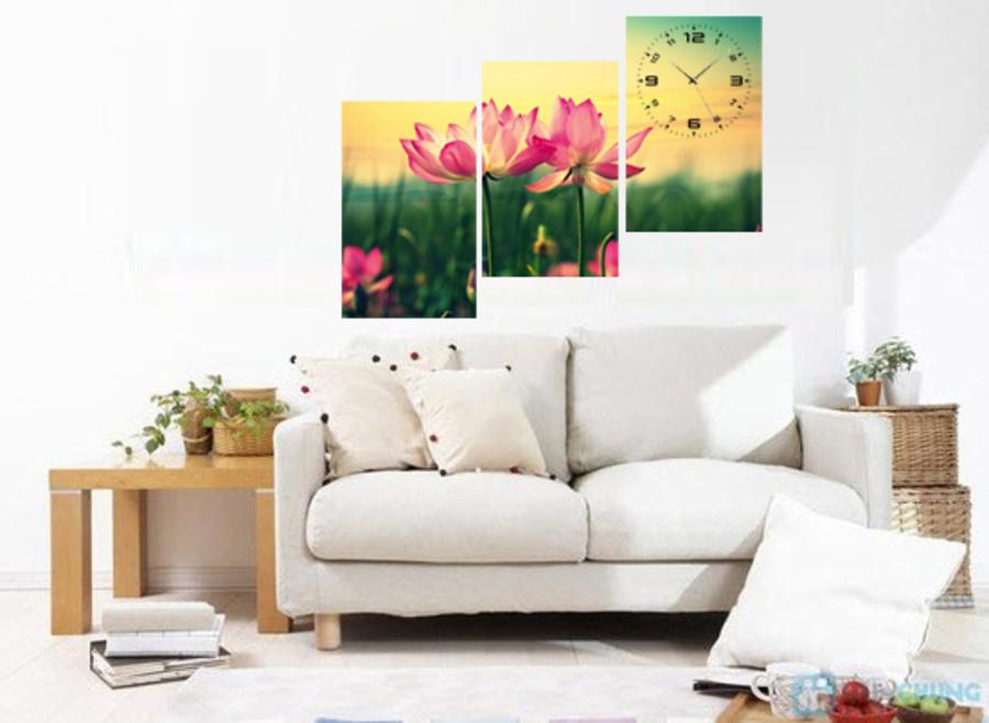Tranh đồng hồ treo tường hoa sen