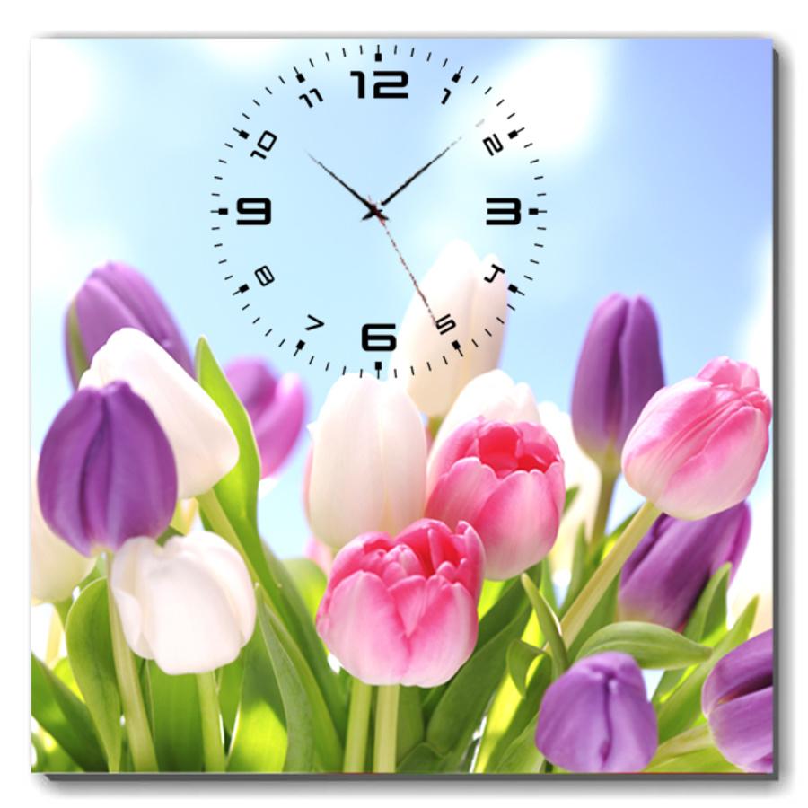 Tranh đồng hồ vườn hoa tulip