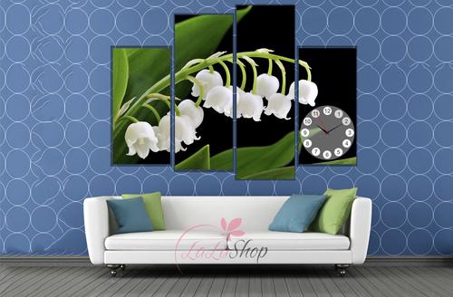 Tranh đồng hồ hoa trắng cách điệu