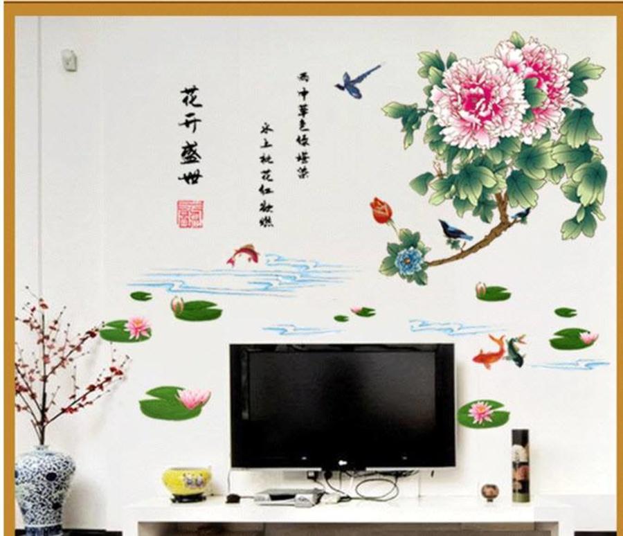 Decal dán tường Hoa mẫu đơn 3
