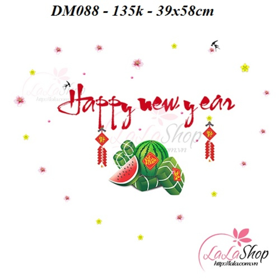 Decal Mỹ Happy New Year 2 (combo 2 bộ )