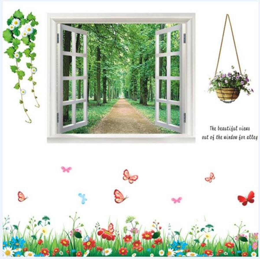 Decal dán tường Combo Cửa sổ 1   Chân tường hoa và bướm 1