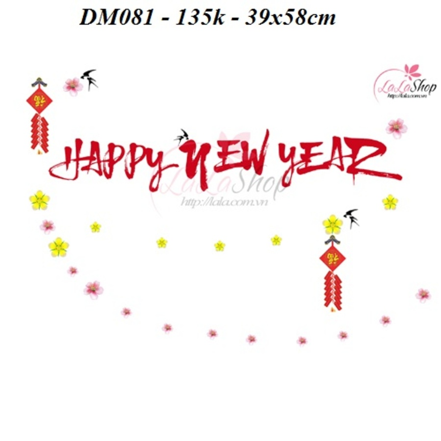 Decal dán tường Mỹ Happy new year