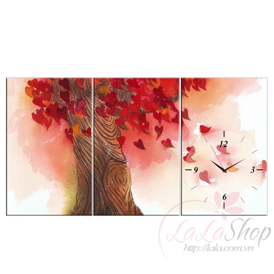 Tranh đồng hồ Cây mùa thu