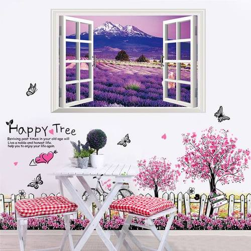 Decal dán tường Combo Chân tường hàng rào hồng   Cửa sổ vườn hoa tím