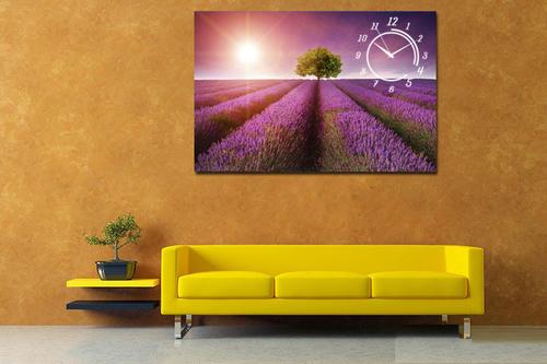 Tranh đồng hồ 1 tấm vườn hoa Lavender tím
