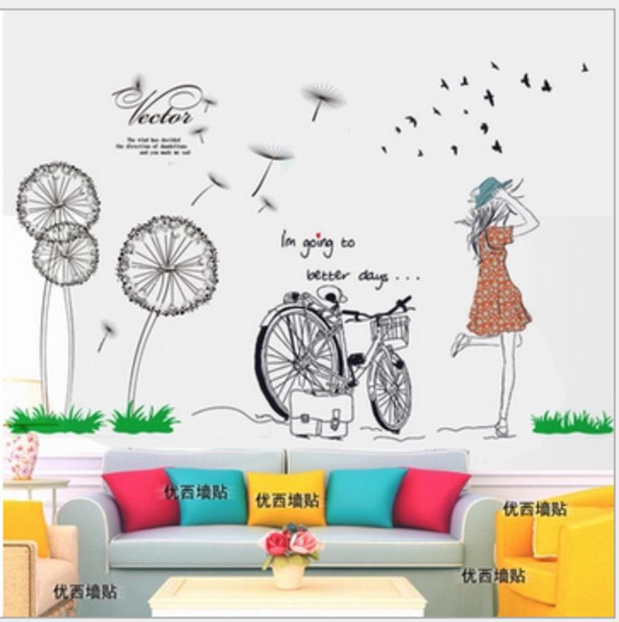 Decal dán tường Combo Cô gái xe đạp và hoa cỏ may