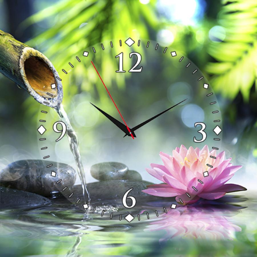 Tranh đồng hồ Sen hồng 1 tấm