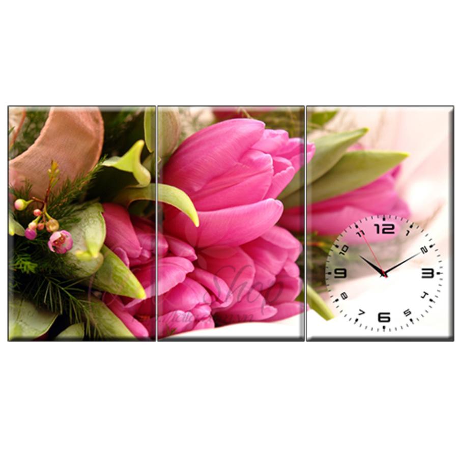 Tranh đồng hồ Tulip hồng