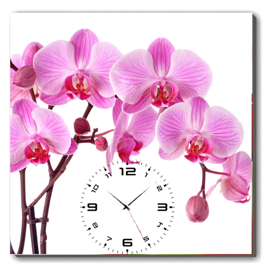 Tranh đồng hồ Hoa lan hồng khổ 40x40cm