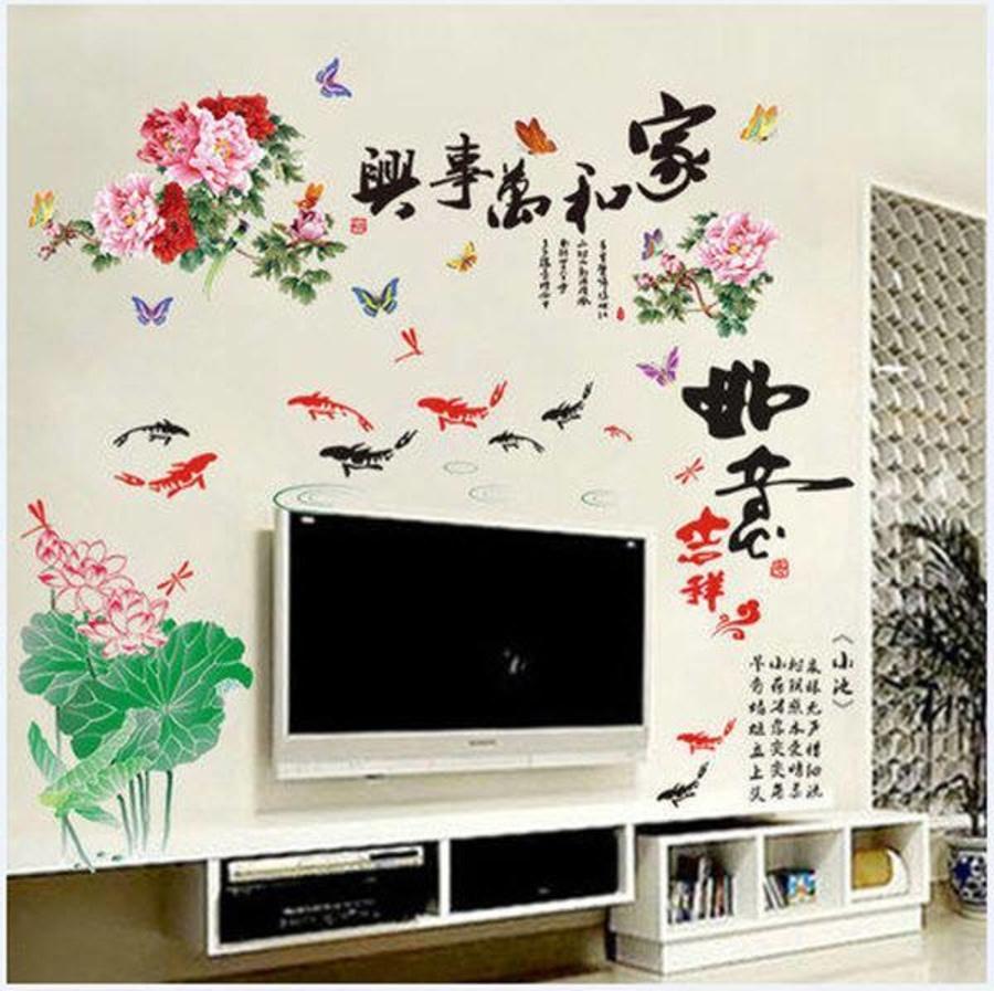 Decal dán tường Combo Đầm sen hồng 4   Hoa mẫu đơn 4