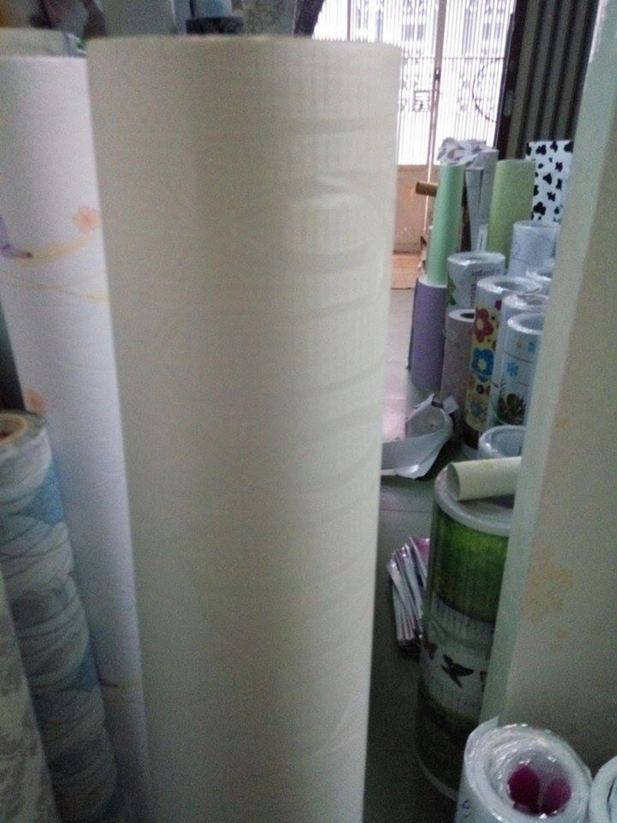Giấy decal cuộn họa tiết hình học trắng