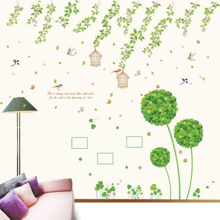 Decal dán tường Combo Dây leo hoa tầm xuân   Tú cầu xanh 2