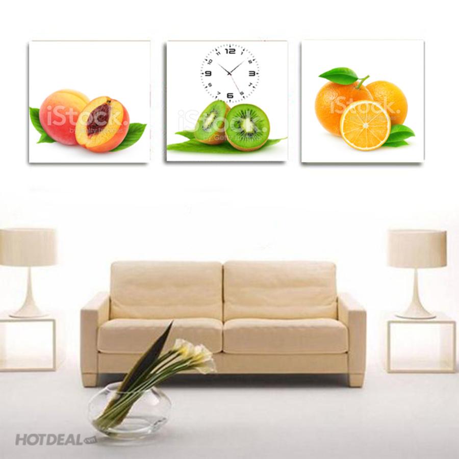 Tranh đồng hồ bộ 3 trái cây size 50x50