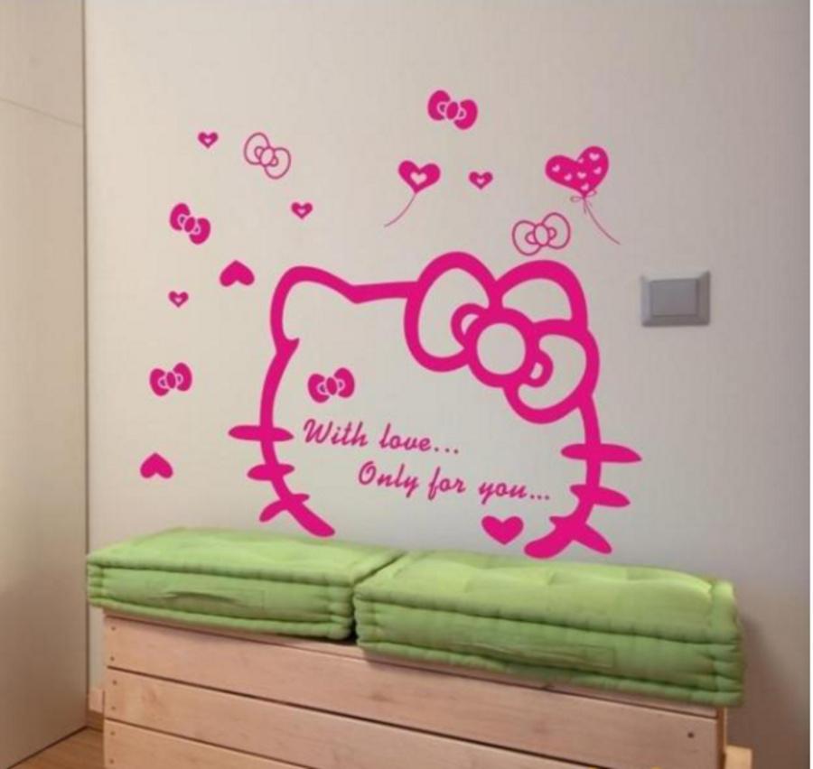 Decal dán tường Kitty kute hình lớn đủ màu