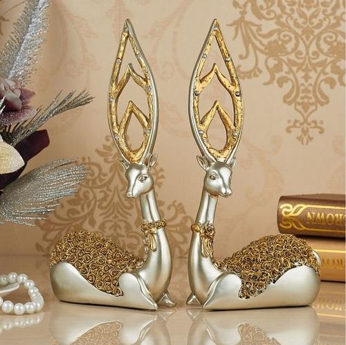 Cặp hươu đính đá vàng