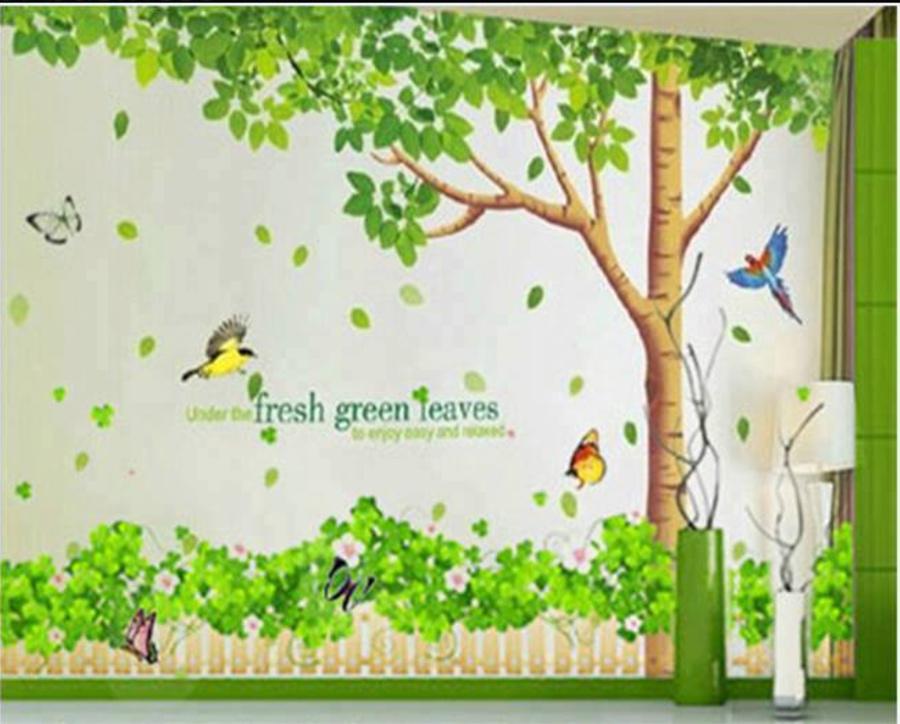 Combo Decal cây bóng mát   chân tường xanh lá