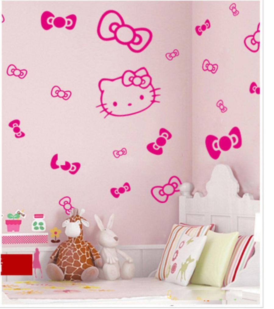 Decal dán tường Kitty và nơ xinh