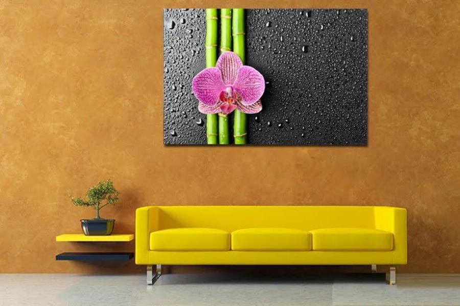 Tranh treo tường 3 cành hoa lan tím