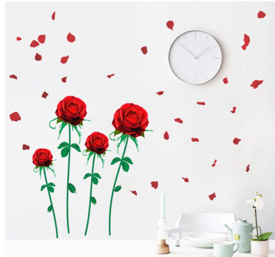 Decal hoa hồng nhung đỏ 2