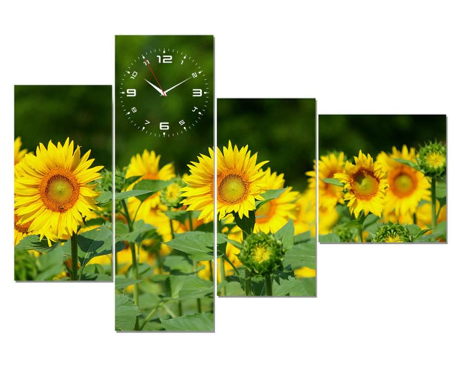 Tranh đồng hồ vườn hoa hướng dương cách điệu