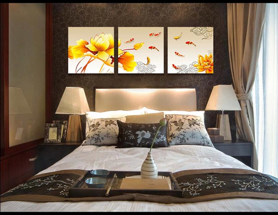 Tranh treo tường hoa sen và cá vàng (LA)