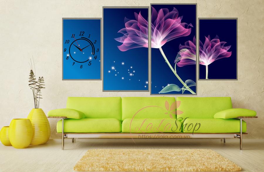 Đồng hồ hoa tím nhiều cánh (2 tấm 40x25cm, 1 tấm 55x30cm, 1 tấm 60x30cm)