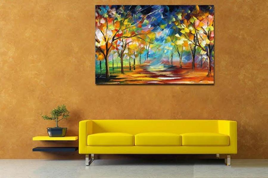 Tranh treo tường nghệ thuật sơn dầu rừng cây