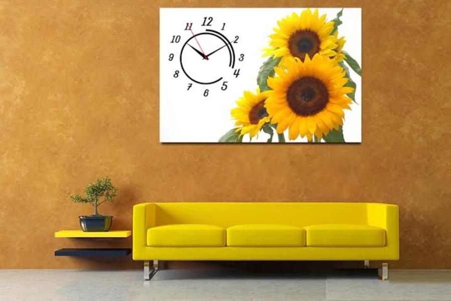 Tranh đồng hồ ba hoa hướng dương