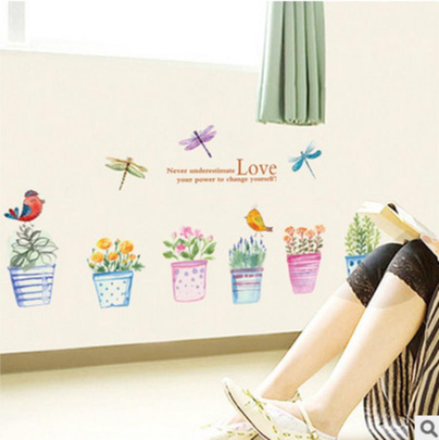 Decal dán tường chậu hoa đủ màu to
