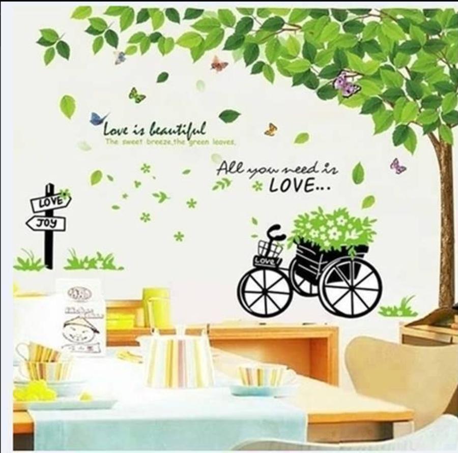 Decal dán tường  combo Decal cây xanh lá size to  xe đạp xanh