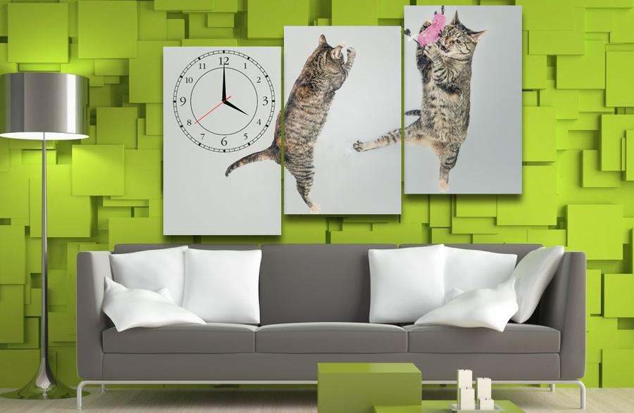 Tranh đồng hồ đôi mèo