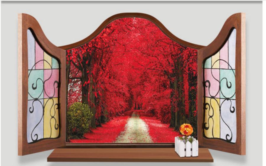 Decal Cửa sổ cổ điển vườn lá đỏ