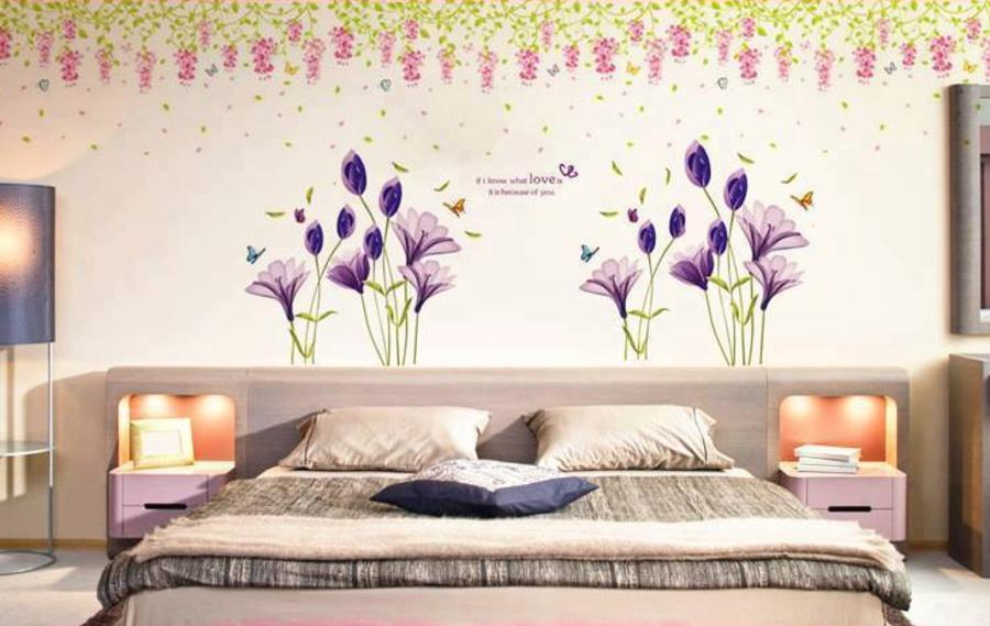 Decal dán tường Combo Decal hoa anh thảo tím   giàn hoa ti gon nhỏ